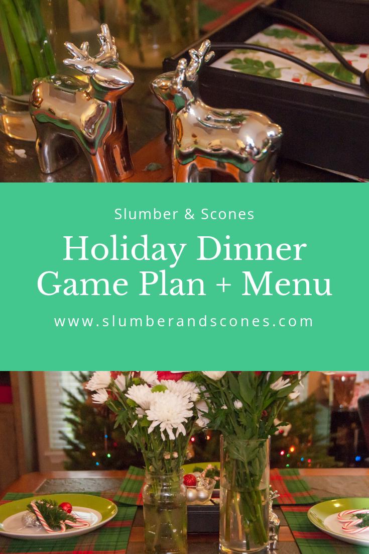 pinterest image for holiday dinner game plan