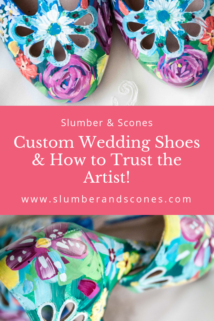 pinterest image for hand painted floral shoes for wedding
