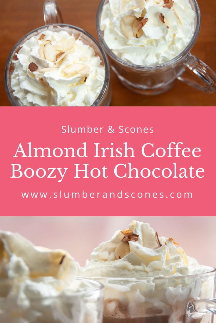 pinterest image for almond irish coffee hot cocoa