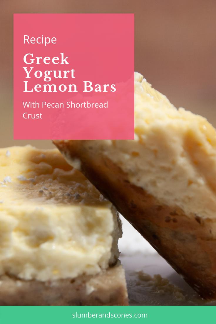 pinterest image for greek yogurt lemon bars