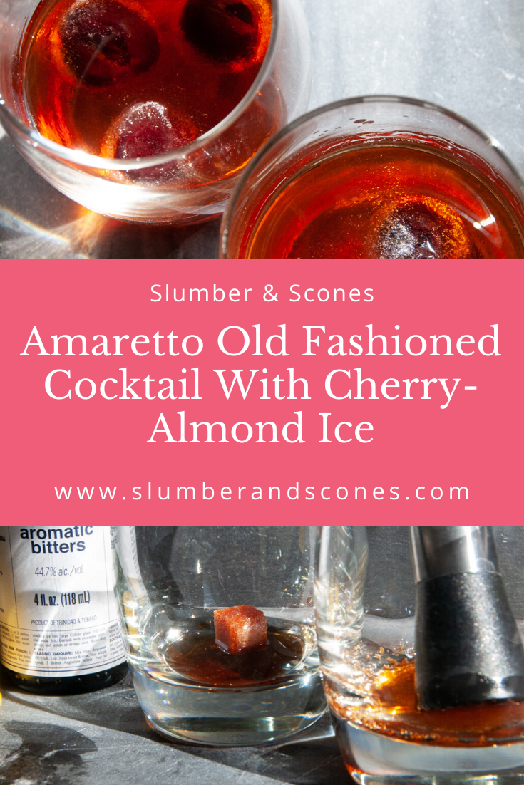 pinterest image for amaretto old fashioned