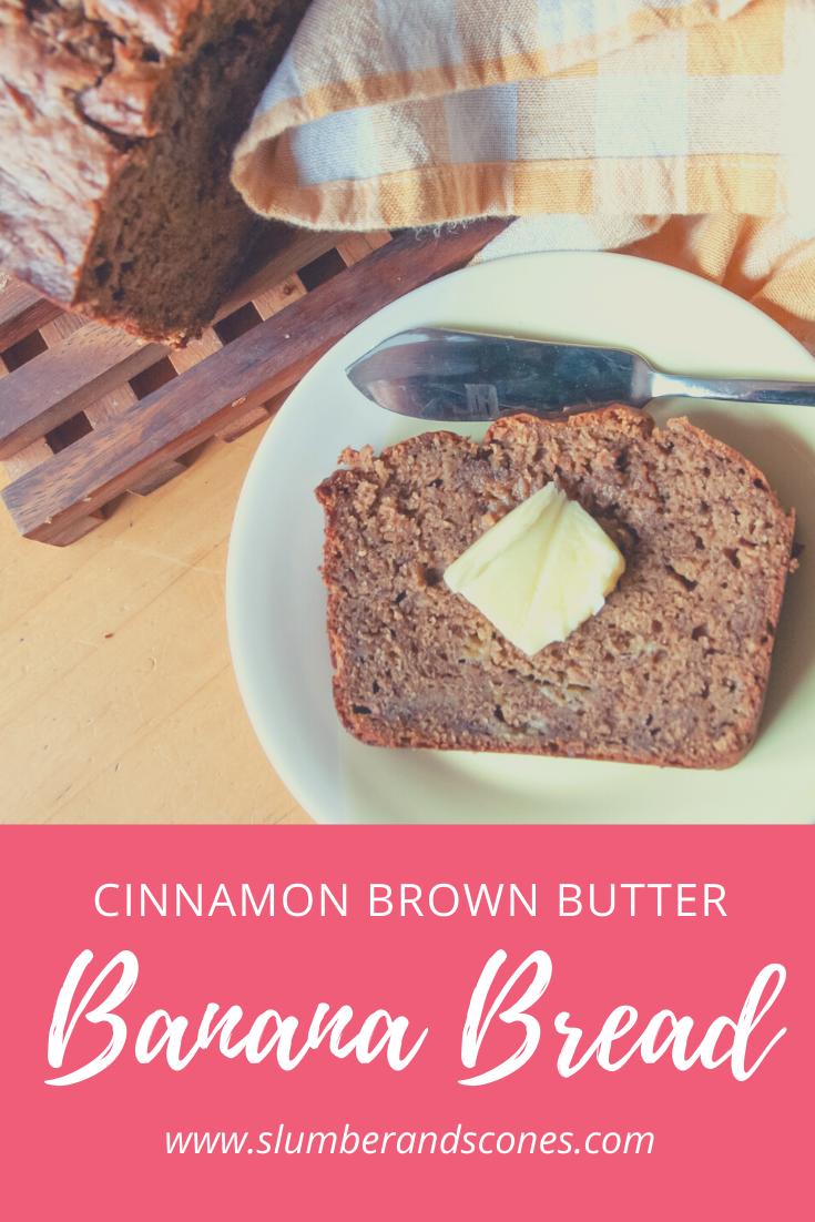 brown butter banana bread pinterest image