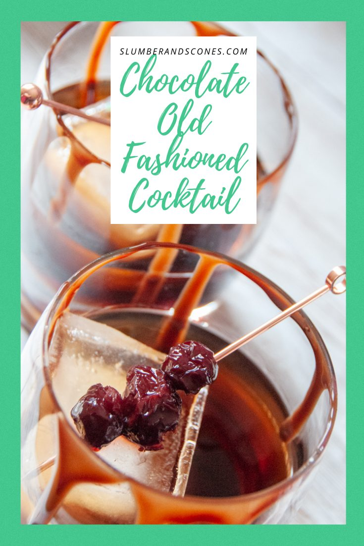 Pinterest image for Chocolate Old Fashioned Cocktail